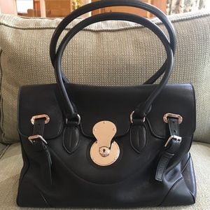 RALPH LAUREN BLACK SOFT LEATHER RICKY BAG *NEW*